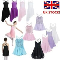 UK Girls Lyrical Ballet Dance Dress Leotard Tutu Skirt Dancewear Party Costume