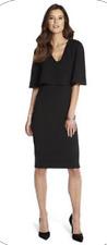CLUB L CAPE OVERLAY PLUNGE BLACK DRESS  UK SIZE 12 BNWT