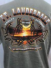 Harley Davidson Pocket T Shirt Ft Lauderdale Beach Sunset Cross Bar Shield LG