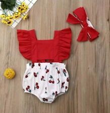 Newborn Baby Girl Ruffle Cherry Print Bodysuits Headband Summer Outfit