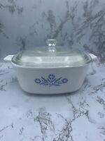 Corning Ware Blue Cornflower P- 1 1/2-B Casserole Dish w/A7C Pyrex lid 1 1/2 QT