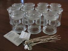 Medium Monaco glass Jars Candle Making Containers + Wicks, Stickums, Warning Lab
