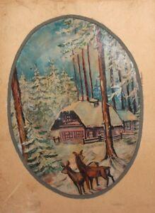 Antique winter landscape deer oil painting