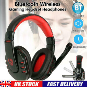 Bluetooth Wireless Gaming Headset Headphone With Mic For iPhone iPad PC UK