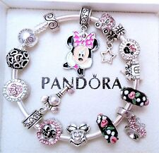 Authentic Pandora Silver Bangle Bracelet With Minnie Disney European Charms.