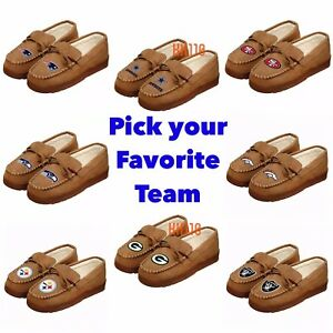 NFL Team Men's Moccasin Hard Rubber Sole Slippers