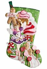 "Bucilla Sugarland Fairy 18"" Christmas Stocking Felt Applique Kit, 86714"