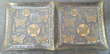 New listing square dessert plates gold butterflies set of 2