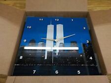 """New York City Evening Skyline Featuring the Twin Towers Wall Clock, 13 by 13"""""""