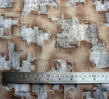 Vintage Brown Grey Abstract Geometric Print Polyester Fabric 95cm x 160cm