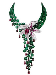 Studded Flower White Gold Plated Highend Statement Red Floral Beaded Necklace