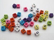 250 Assorted Alphabet Letter Acrylic Cube Pony Beads 6X6mm