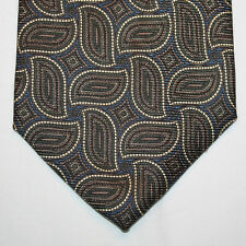 NEW Nordstrom Silk Neck Tie Dark Blue Navy w Light Yellow Modern Paisleys 966