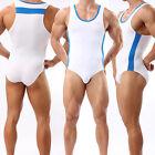 Nice White Men's Sports Leotard Fitness Stretch Bodysuit Bodybuilding Underwear
