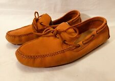 COLE HAAN Air Men's 10 B Driving Leather Moccasin Loafers Boat Orange