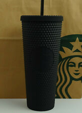 Starbucks Tumbler Cold Cup Bling Opaque Studded Matte Black 24oz NEW