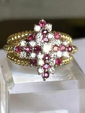 Estate Heavy 18k Gold With Ruby And Diamond Ring