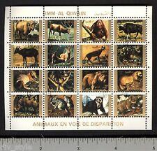 Endangered Animals II miniature sheet of 16 stamps CTO orangutan hyena sloth