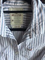 HOLLISTER WOMEN'S STRETCH M FITTED SHIRT WHITE WITH NAVY & PINK STRIPES