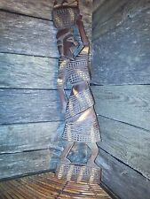 "Nice 18"" Vintage African Tribal Woman Hand Carved Crafted Dark Wood Wall Hanging"
