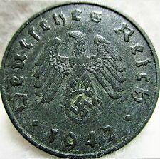 1942A Germany - THIRD REICH - 10 Reichspfennig, Zinc, Swastika Coin, VF ~ KM#101