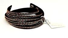 Swarovski Slake 5045808 Chocolate Alcantara Wrap Bracelet w Gold/Yellow Crystals