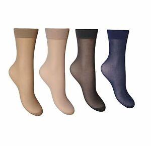 3,6,12 Pairs Ladies Womens Socks Ankle High Pop 15 denier Comfort Top Size 4-7