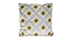 Cushion - Embroided Cotton Grey & Yellow