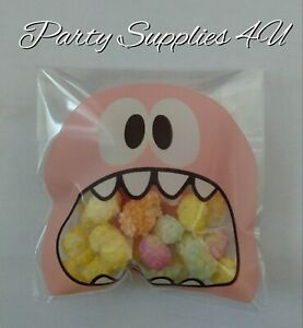Pink Monster cello bags. 10pk. Cookies/party/gift/sweets/candy/favour/Halloween