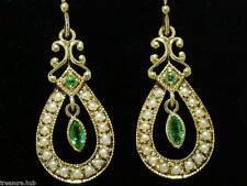 CE041 CHARMING Genuine 9K SOLID Yellow Gold NATURAL Emerald Pearl Drop Earrings