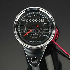 US Motorcycle Dual Speedometer Tachometer Speedo Meter LED For Honda Cafe Racer