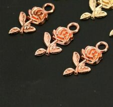 10 Rose Charms Rose Gold Tone Flower Pendants Garden Findings Spring 22mm