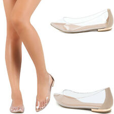 Nude Lucite Clear Transparent Pointy Toe Gold Low Flat Heel Ballerina Slide Shoe