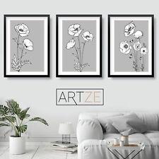 MIX & MATCH Art Prints Grey Sketch Poppy Poppies Flowers Minimalist Poster