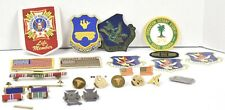 Lot of 26 Vintage Military Pins medals WWII Dessert Storm Patches And More Rare