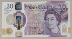BANK OF ENGLAND POLYMER £20 UNCIRCULATED  [ BH43 007287 & 007289 ]  FREEPOST UK