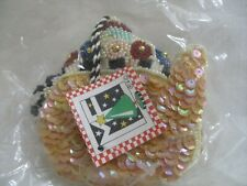 Mary Engelbreit beaded/sequined teapot w/flowers ornament new sealed