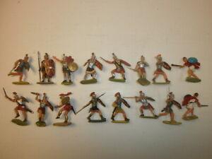 1. Convolute 16 Old Elastolin Plastic Figures Rummer To 1 5/8in