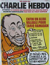 AFFICHE PUBLICITAIRE CHARLIE HEBDO TARIQ RAMADAN ENFIN UN ALIBI VALABLE