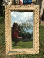 Vtg LARGE Victorian Ornate Wood Chalk Shabby Painted Framed Cottage Mirror