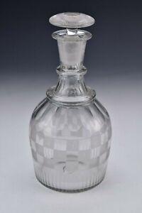 19th Century Glass Decanter Unusual Basket Weave Pattern