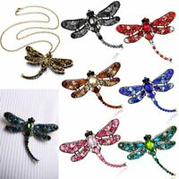 Vintage Dragonfly Full Crystal Brooch Pin Necklace Long Chain Womens Jewellery