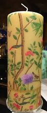 GOLD CHINESE FLORAL WALLPAPER Hand Decorated Pillar Candle 18x6.5cm