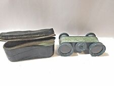 VINTAGE BINOCULARS MINUETTE 2.5X WITH GREEN LEATHER CASE
