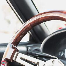 "VIILANTE 2"" DISH 6-HOLE STEERING WHEEL *WALNUT WOOD GRAIN* GOLD CHROME - BMW E30"