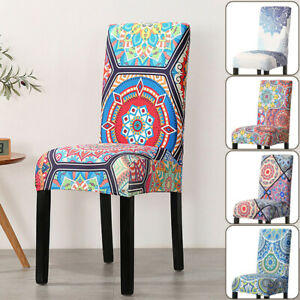 Dining Chair Cover Bohemia Spandex Elastic Slipcover Anti-dirty Seat Case Cover