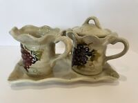 Cabernet Tabletop Collection Ceramic Sugar/Creamer & Tray Tuscan Design/Grapes