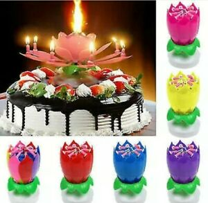 2x Magical Flower Musical Birthday Blossom Lotus Candle Party Cake
