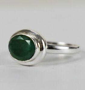 925 Sterling Silver Emerald Sz 2-14 Oval Handmade Wedding Ring Women GRS-1445