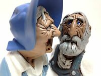 2 Ceramic Funny Old Woman Old Man Hand Painted Figurines Busts